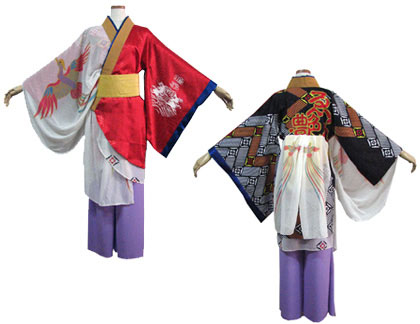 よさこい衣装の制作事例は、あわせ半天の鳴子艶舞会さんです。左袖は着物袖でアクセントに袖口を切替え。  右袖は筒袖にドレープ感のあるショールをまとわせ手の動きもきれいにみせます。