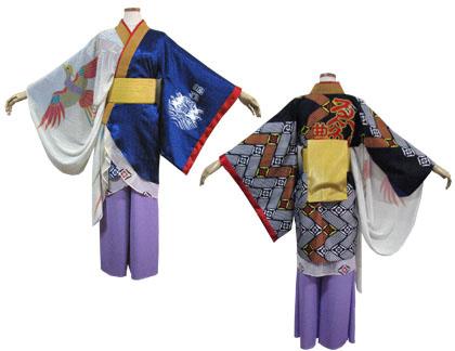 よさこい衣装の制作事例は、あわせ半天の鳴子艶舞会さんです。帯とお太鼓風鳴子入れは金糸を使ったメタルサテン(ゴールド)で  スッキリとコーディネート。