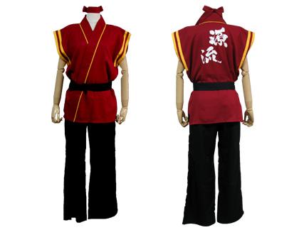 太鼓衣装の制作事例は、袖なし半天の甲山瀬戸内源流太鼓さんです。えんじ色の『ハチマキ』と、黒で巾が細めの『ソフト帯』も制作しました。
