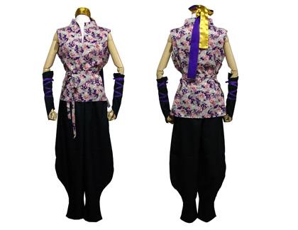 太鼓衣装の制作事例は、和柄立ち衿シャツの五湖鶴太鼓さんです。立ち衿シャツと裾しぼりパンツと手甲、ハチマキを制作しました。