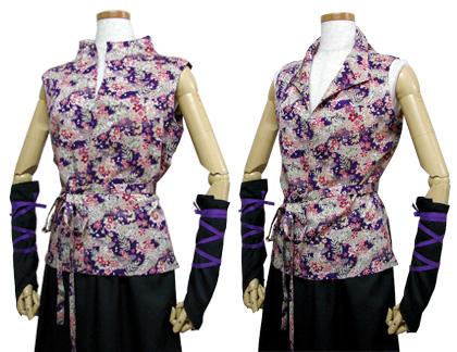太鼓衣装の制作事例は、和柄立ち衿シャツの五湖鶴太鼓さんです。立ち衿シャツ衿は、立てたり開いたりして着ると雰囲気を変えられます。