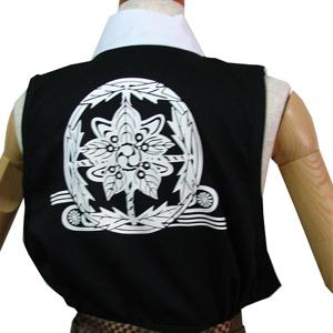 太鼓衣装の制作事例は、袖なし半天の葉隠さんです。