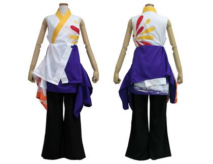 よさこい衣装のあわせ半天制作事例は、筑波大学斬桐舞さんです。早脱ぎ後。インナーは着物型シャツに。
