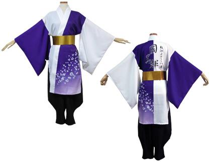 よさこい衣装の制作事例は、両用半天の松江よさこい連 國美輝さんです。ゴールドの「よさこい帯」でお衣装に華やかさをプラスしています。
