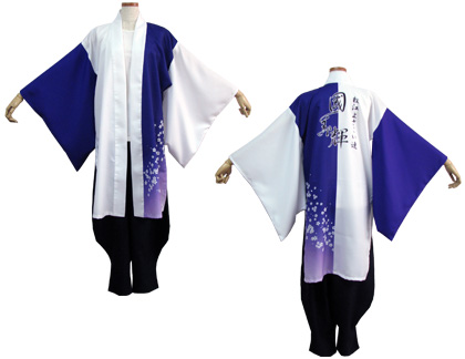 よさこい衣装の制作事例は、両用半天の松江よさこい連 國美輝さんです。「両用半天」は、帯無しでも着用可能です。