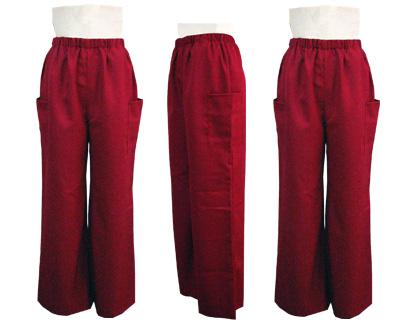 よさこい衣装の制作事例は、長半天の舞呼さんです。「ストレートパンツ」の左右脇には、鳴子が入るようポケットがついています。
