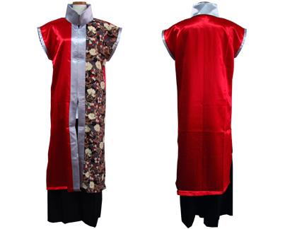 太鼓衣装の制作事例は、袖なし半天と立ち衿半天の三隅清風太鼓さんです。「立ち衿半天」は、着丈を長めにしかっこ良く仕上げました。