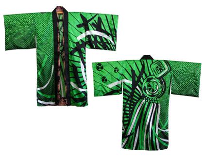 よさこい衣装の長半天制作事例は明新森組さんです。赤、黄、緑、空色、紫の5色展開の長半天を制作しました。