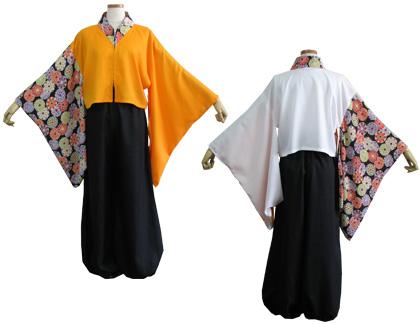 よさこい衣装の制作事例は、オリジナル半天ののとしん舞遊人さんです。半天は、前を逆開ファスナーにする事であけ具合を変えられ自分好みの雰囲気にすることができます。