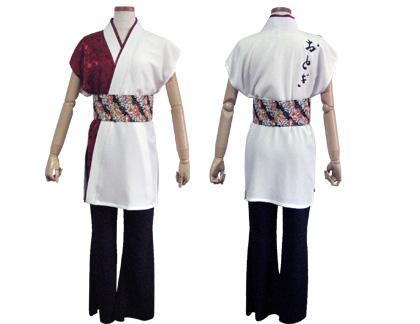 太鼓衣装の制作事例は、袖なし半天のおとぎさんです。女性は、えんじ色のジャガート生地を取り入れた「袖なし半天」と「ブーツカットパンツ」でコーディネートしました。