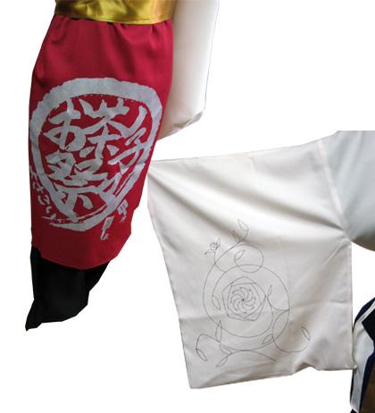 よさこい屋が、制作したお茶ノ子祭々のよさこい・太鼓衣装です。後裾には、先輩が残したチームロゴを。右前袖には細い線の花柄模様をプリントしています。