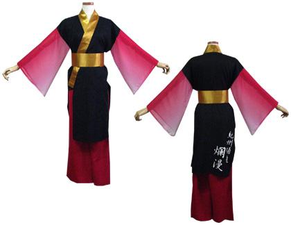 よさこい衣装の制作事例は、あわせ半天の紀州踊連 爛漫さんです。「あわせ半天」の前丈は、左右比対称になっています。