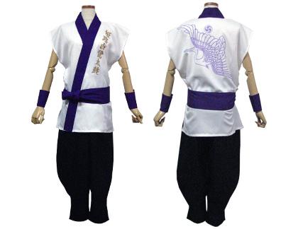 太鼓衣装の制作事例は、袖なし半天の姫路白鷺太鼓さんです。さわやかに小物も「袖なし半天」の衿(紫)の色とあわせしました。