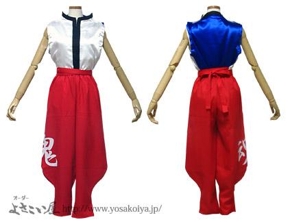 <「立ち衿シャツ」のウエスト紐は、パンツと同じ赤色で制作しました。>