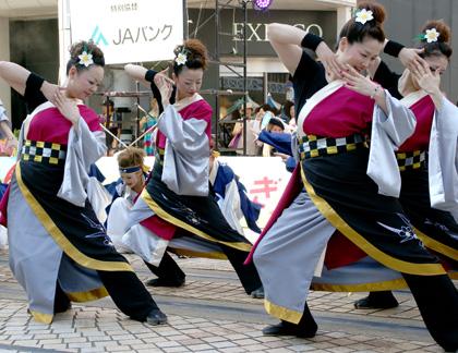 よさこい衣装の制作事例は、腰巻きを追加された水仙紅羅舞さんです。女踊り衣装には、腰巻きをプラスしました。