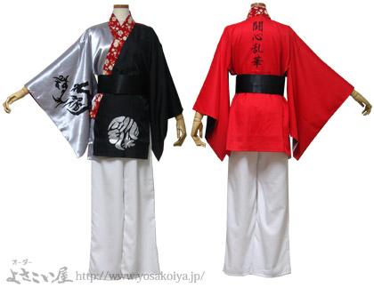 <バックサテン(銀色)の「あわせ半天」です。衿にはアクセントとして和柄生地を使用しています。>