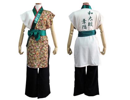 太鼓衣装の制作事例は、袖なしあわせ半天の和太鼓葉隠さんです。「袖なしあわせ半天」の左前身頃には、舞台で映えるように緑系の和柄生地をご提案しました。