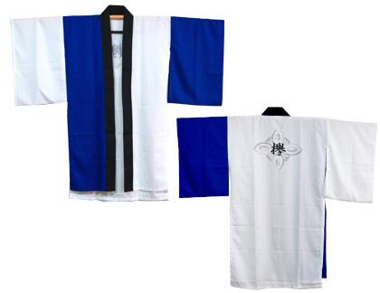 よさこい衣装の制作事例は、長半天の若欅さんです。長半天(青)の全体写真です。