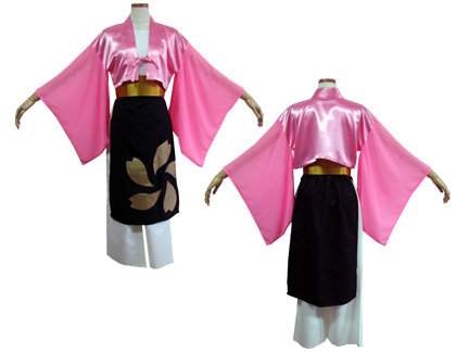 よさこい衣装の制作事例は、両用半天のよさこい踊り組 優心さんです。インナー半天は、袖に透け感のあるジョーゼット生地(ピンク)を使用。
