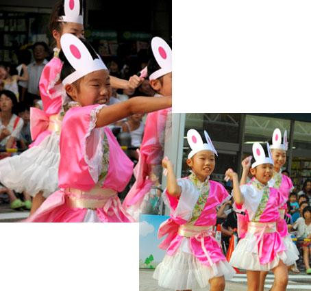 一緒にダンスをしている踊り子隊も、おそろいです。 和の要素もとりいれつつ、レースやペチコートがかわいい衣装。