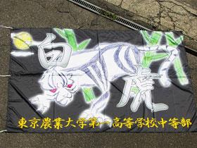 四神(白虎・朱雀・青龍)をイメージした2m×3mの旗。