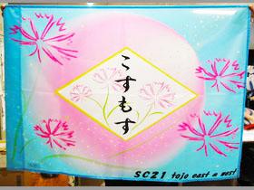 コスモスの花が咲く0.7m×1mの旗