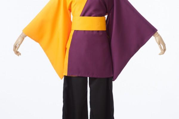 黄色×赤紫のあわせ半天