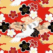 雲と花と鶴