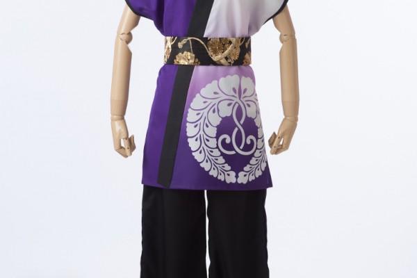 紫×白の袖なし半天ロング