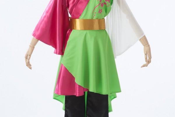 黄緑×ピンクの爽やかで可愛らしいよさこい衣装。
