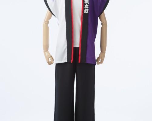 紫×白の袖なし半天ショート