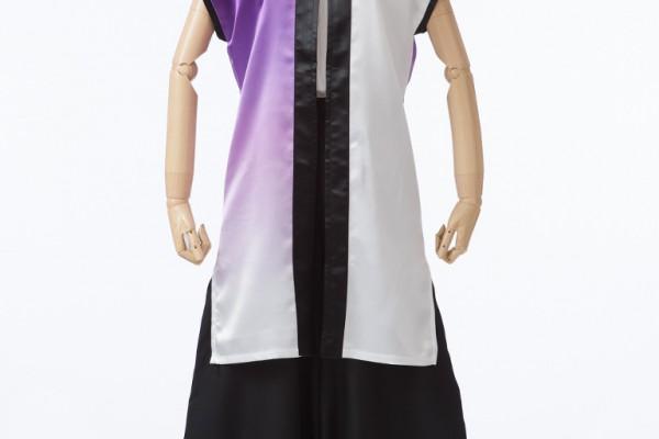 紫×白のグラデーションの立ち衿半天(立ち衿なし)