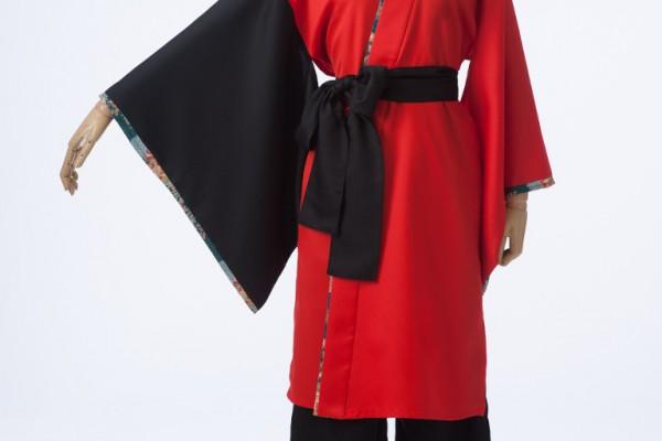 細部和柄がアクセントの赤×黒両用半天/長崎国際大学Yosaこくさい