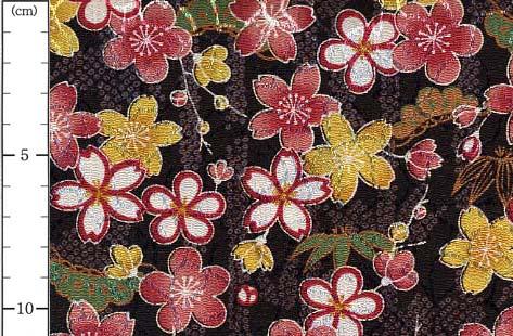 オーダーよさこい屋で取り扱っている、ポリエステルちりめんジャガードの和柄生地をご紹介します。No,81820D/#18鹿の子竹に桜(かのこたけにさくら)