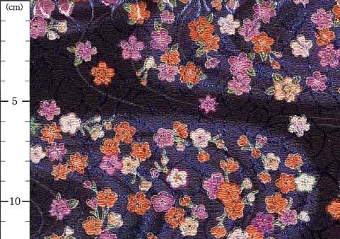オーダーよさこい屋で取り扱っている、ポリエステルちりめんジャガードの和柄生地をご紹介します。No,81820D/#19流水に小花(りゅうすいにこばな)