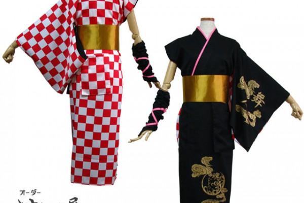 舞人さんのよさこい衣装は、片方が袖なしと肩ぬぎの着流しです。