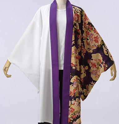 白色に紫色の和柄が華やか。
