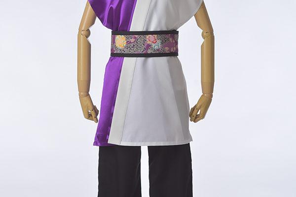 紫と白で上品な袖なし半天